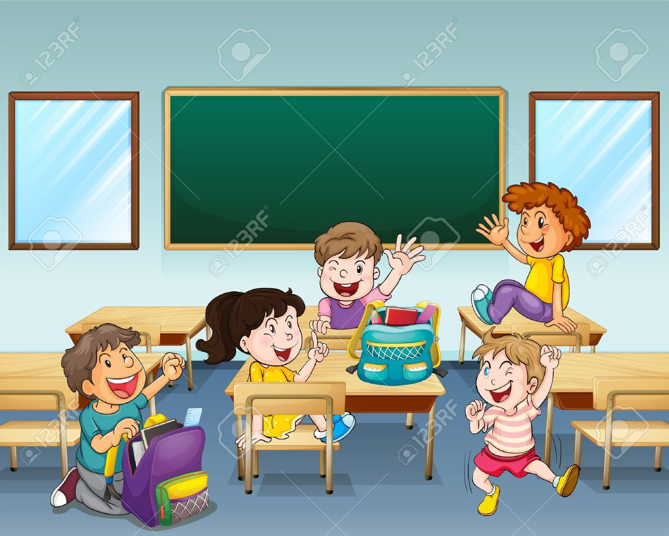 illustration of happy students inside a classroom royalty free rh 123rf com students sitting in classroom clipart students working in classroom clipart