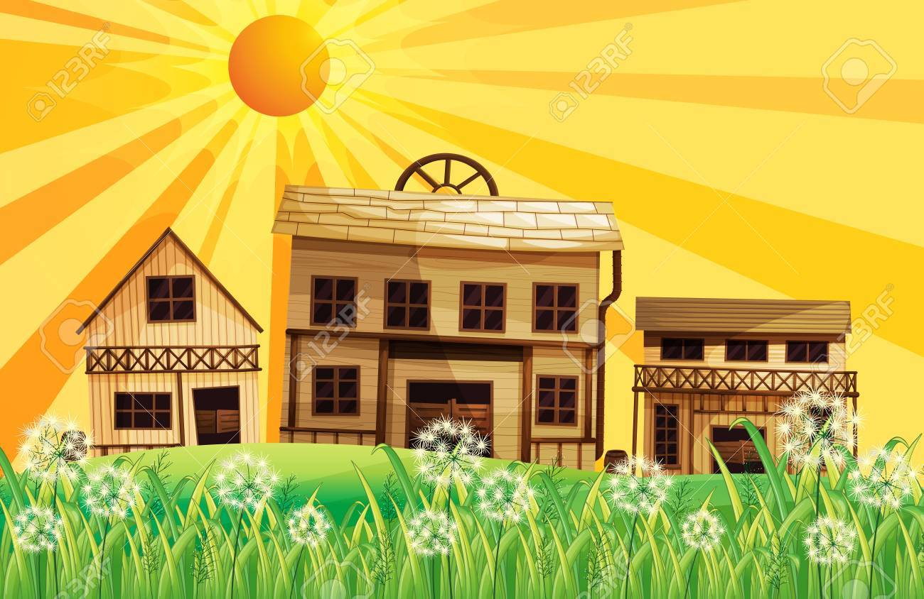 Illustration of the sunset at the neighborhood Stock Vector - 17918538