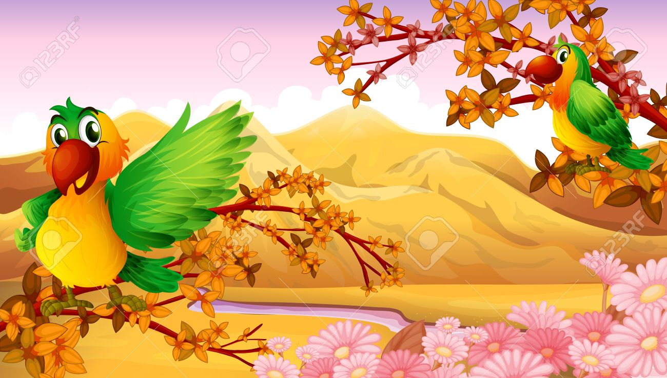 Illustration of two colorful birds near the river Stock Vector - 17918526