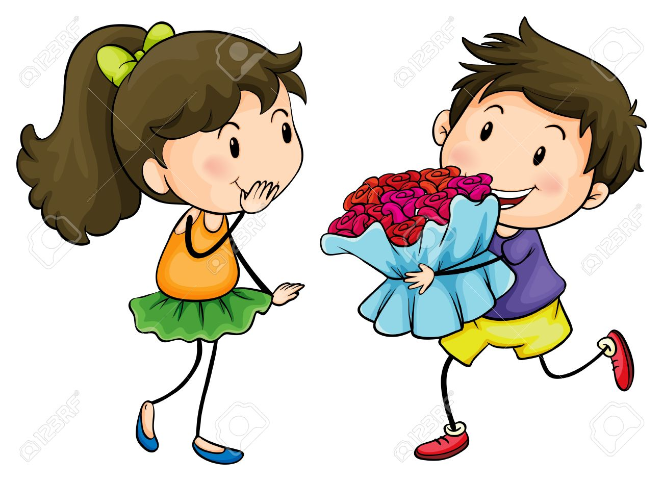 Illustration of a boy giving his girlfriend a bouquet of flowers on a white background Stock Vector - 17918436