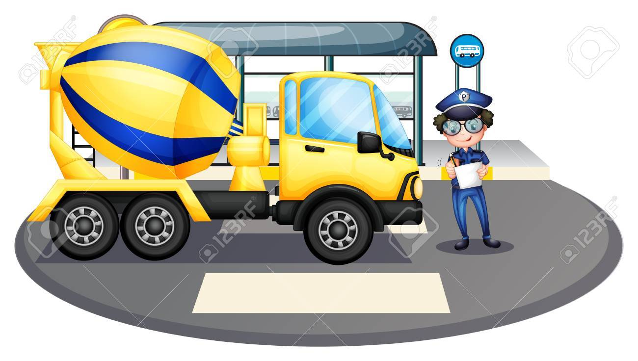 Illustration of a cement truck inspected by the policeman on a white background Stock Vector - 17918515