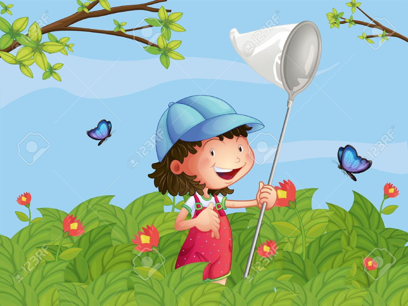 Illustration of a girl with a cap catching butterflies in the garden Stock Vector - 17918507