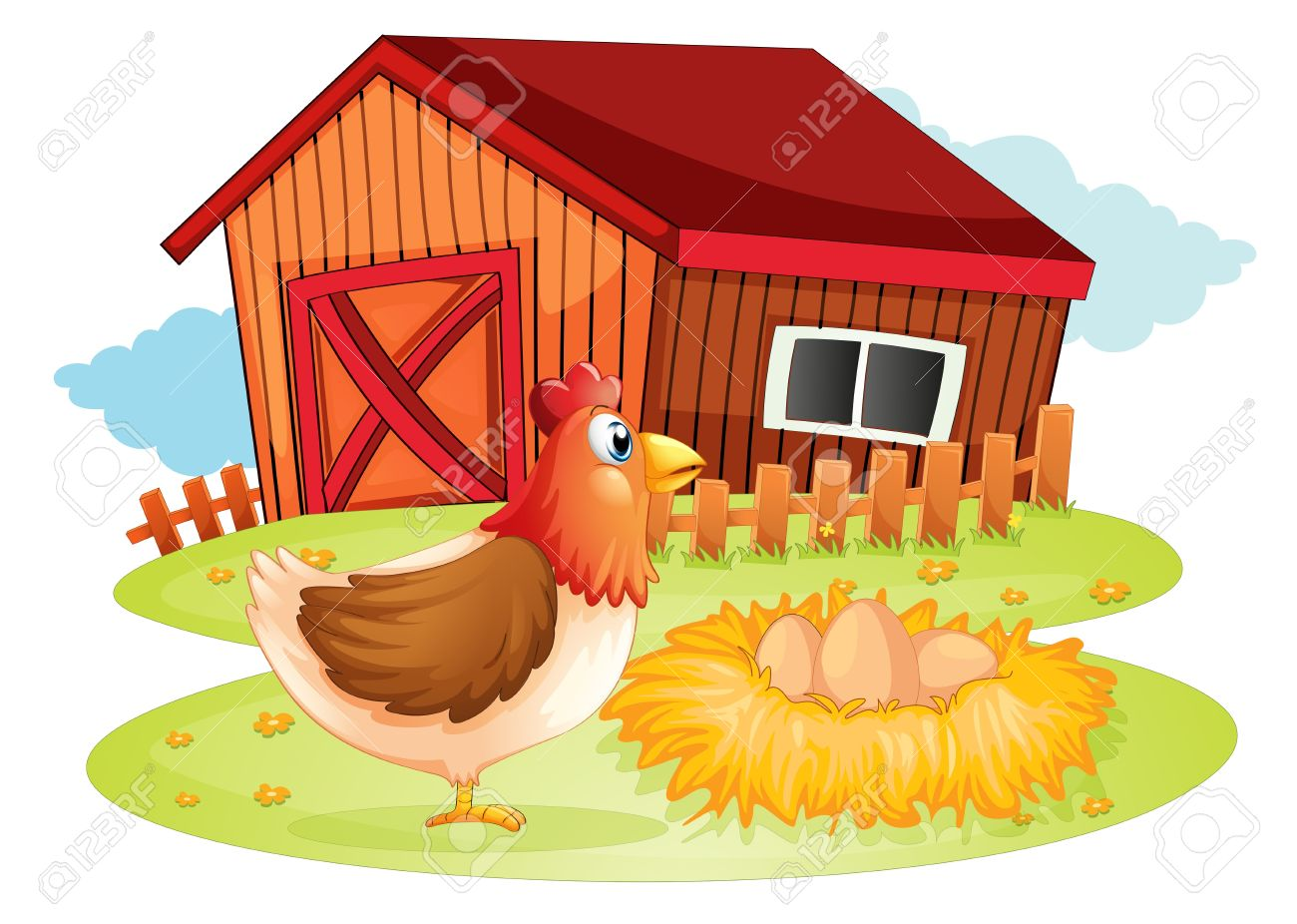 illustration of a hen and her eggs at the backyard on a white