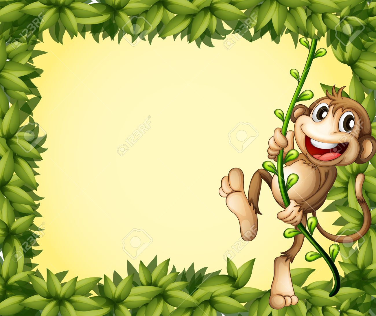 Illustration of the green border with a monkey Stock Vector - 17918500
