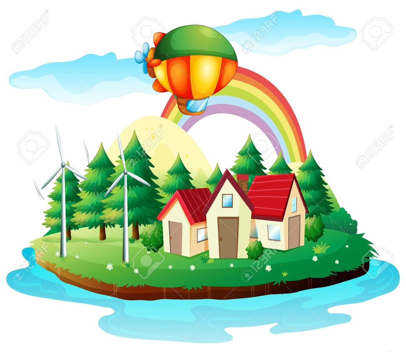 Illustration of a village in an island on a white background Stock Vector - 17918554