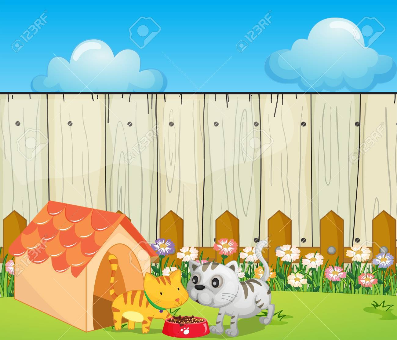 Illustration of a pethouse inside the fence Stock Vector - 17918468