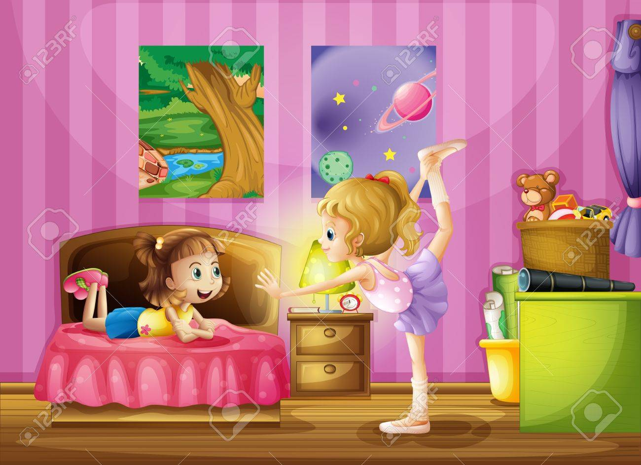 Bedroom clipart clipart kid - Kids Exercising Clipart Illustration Of Two Young Girls Inside A Bedroom