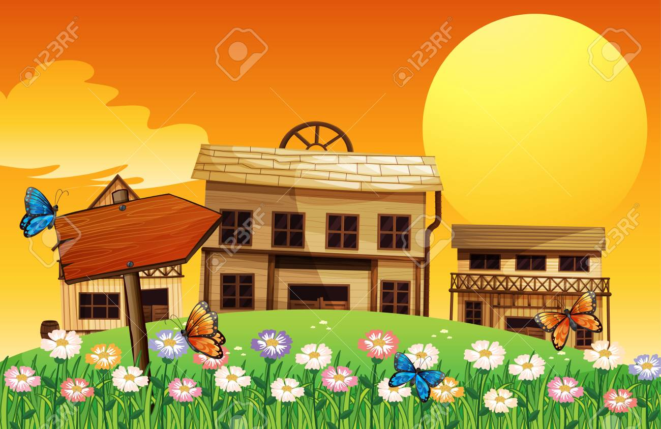 Illustration of a wooden arrow with houses at the back Stock Vector - 17927814
