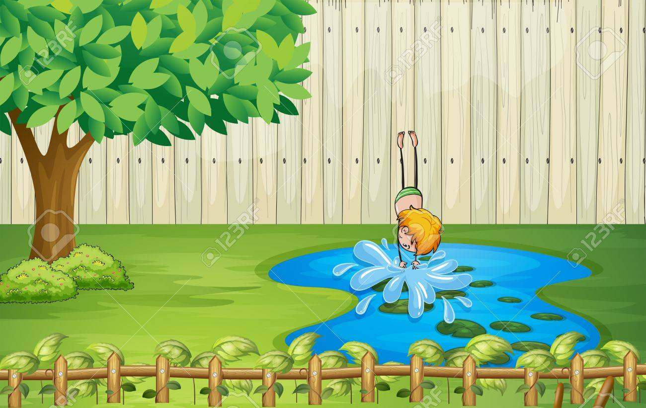Illustration of a boy diving in the pond Stock Vector - 17927823
