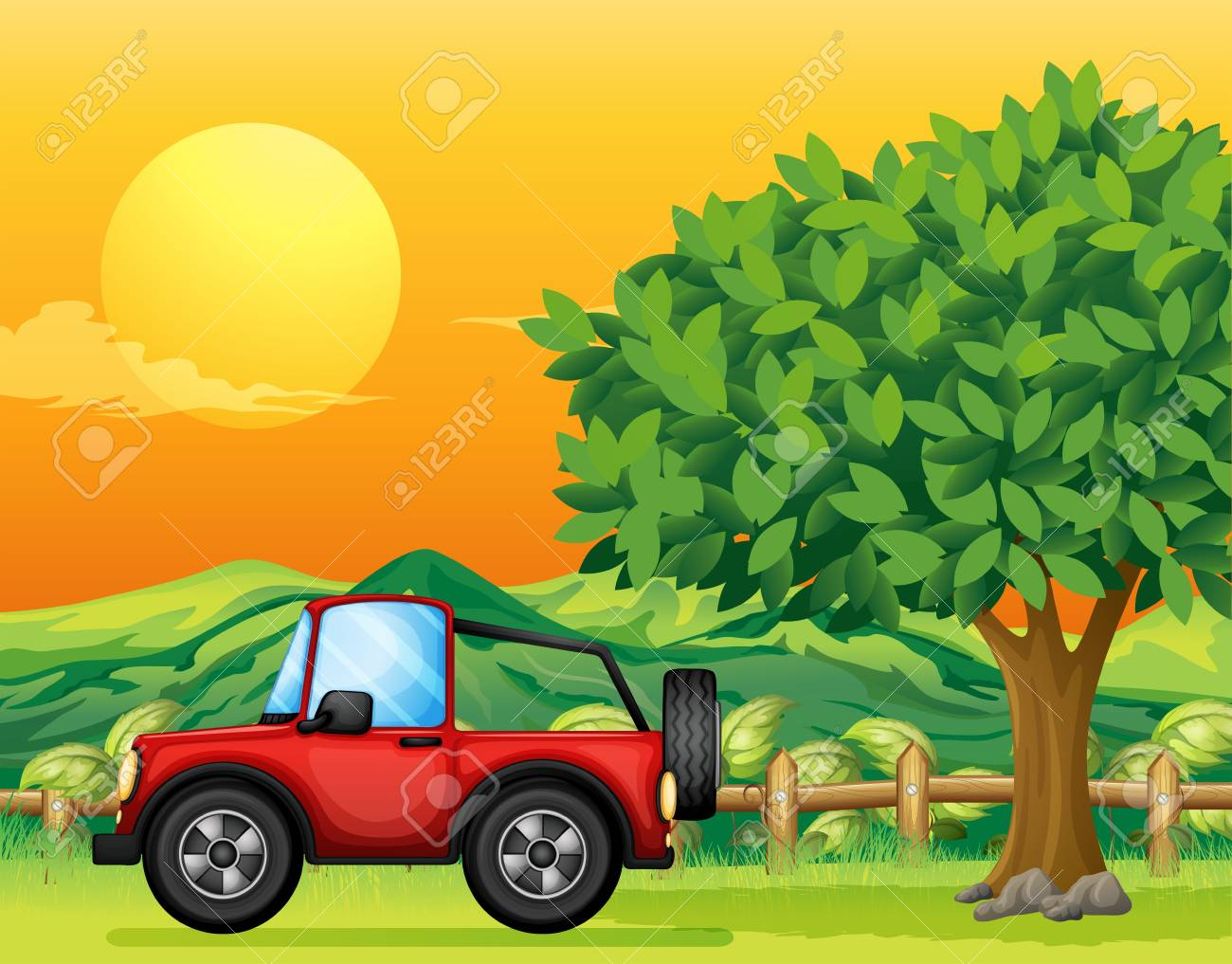 Illustration of a car passing at the bridge Stock Vector - 17927824
