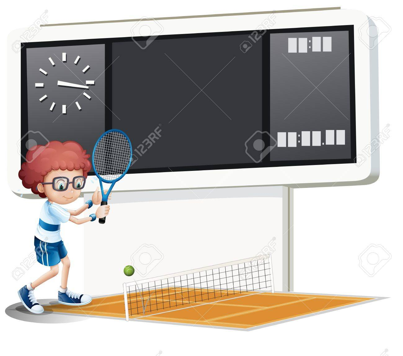 Illustration of a boy playing tennis on a white background Stock Vector - 18004950