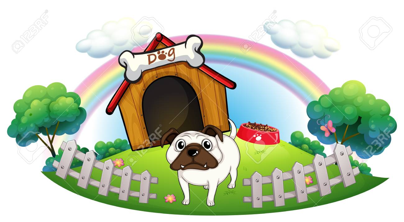 Illustration of a dog with a doghouse on a white background Stock Vector - 18005004