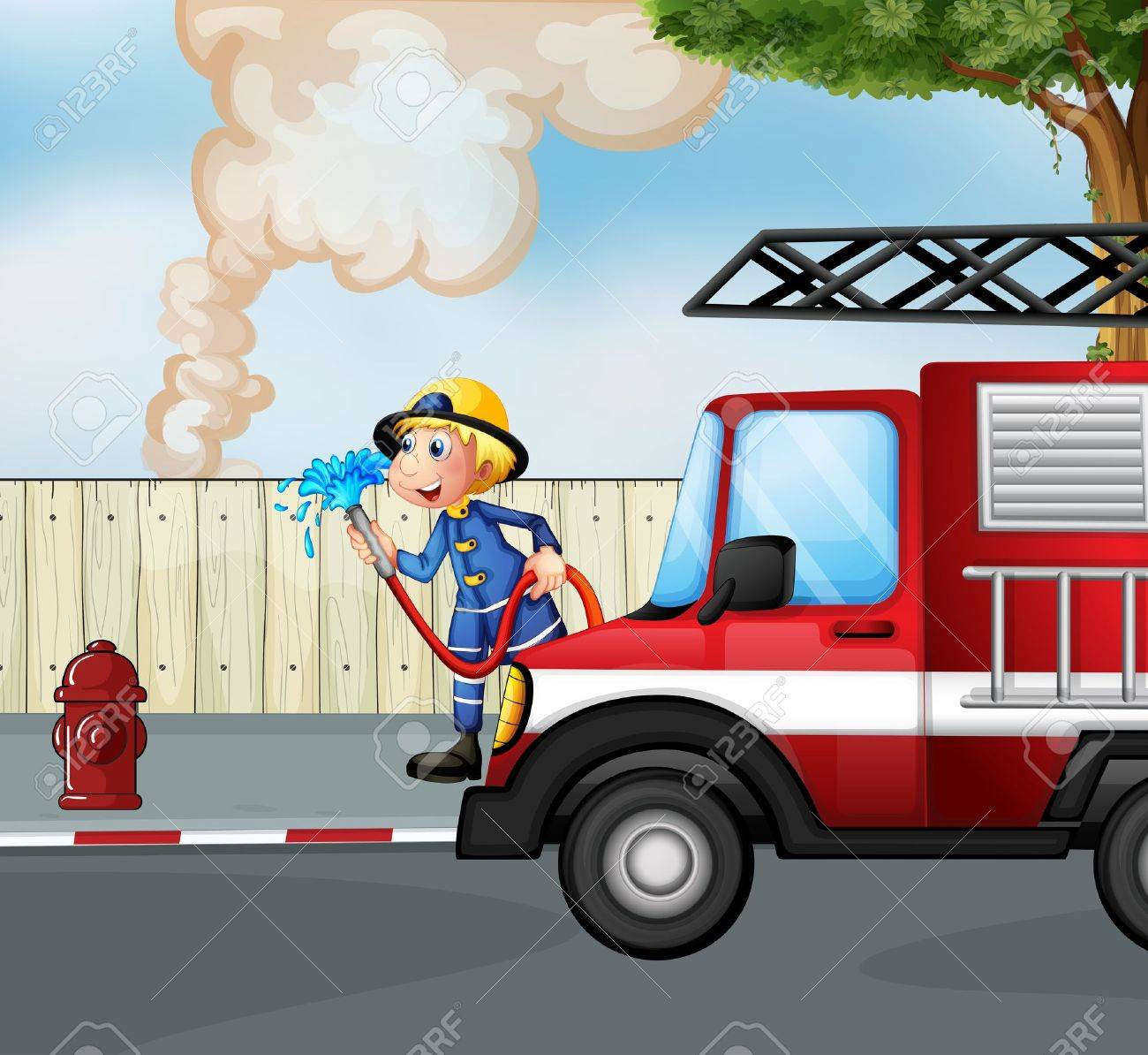 Illustration of a fireman rescuing a fire near the street Stock Vector - 18005014