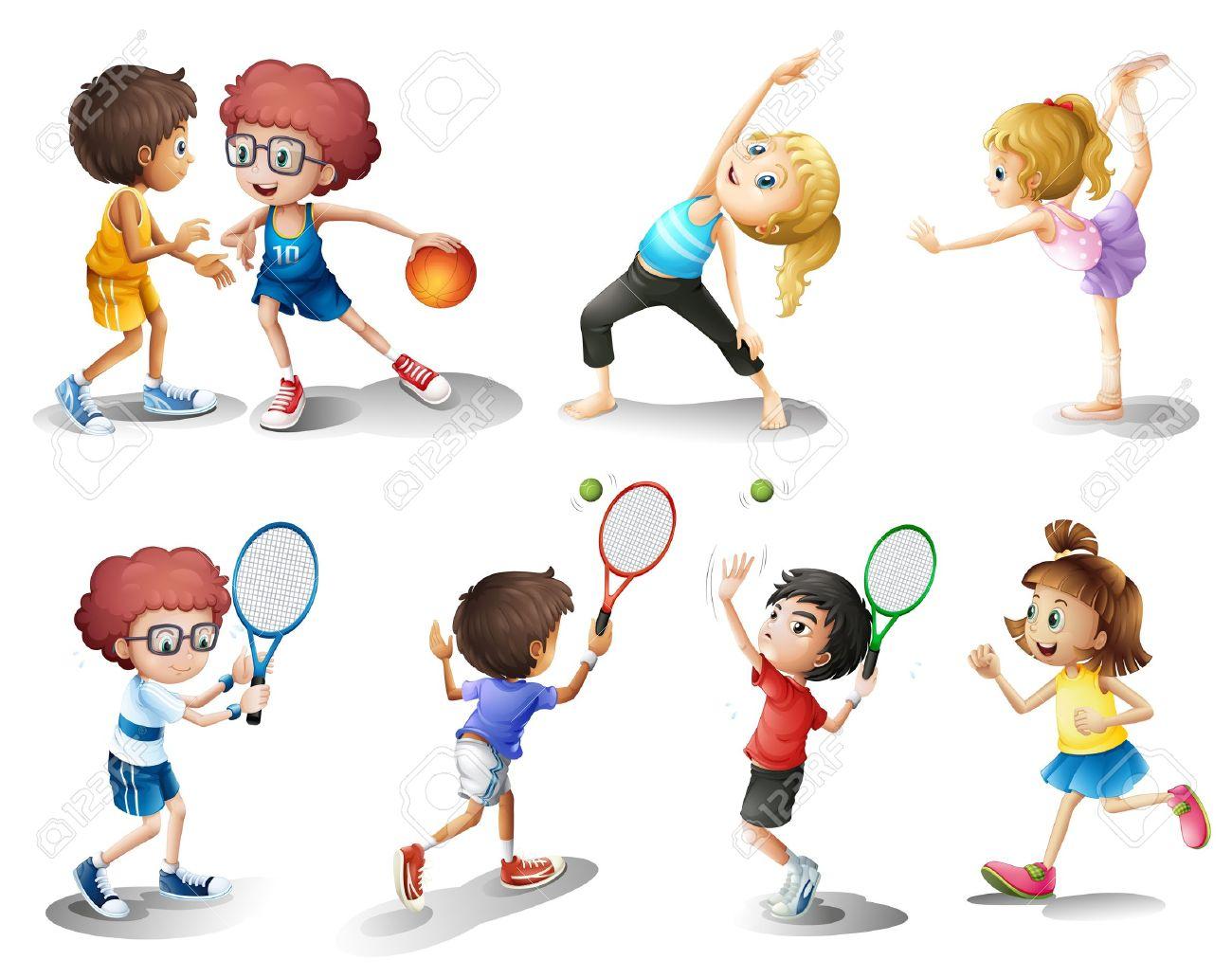 行使し、白い背景にさまざまなスポーツの子供たちのイラスト