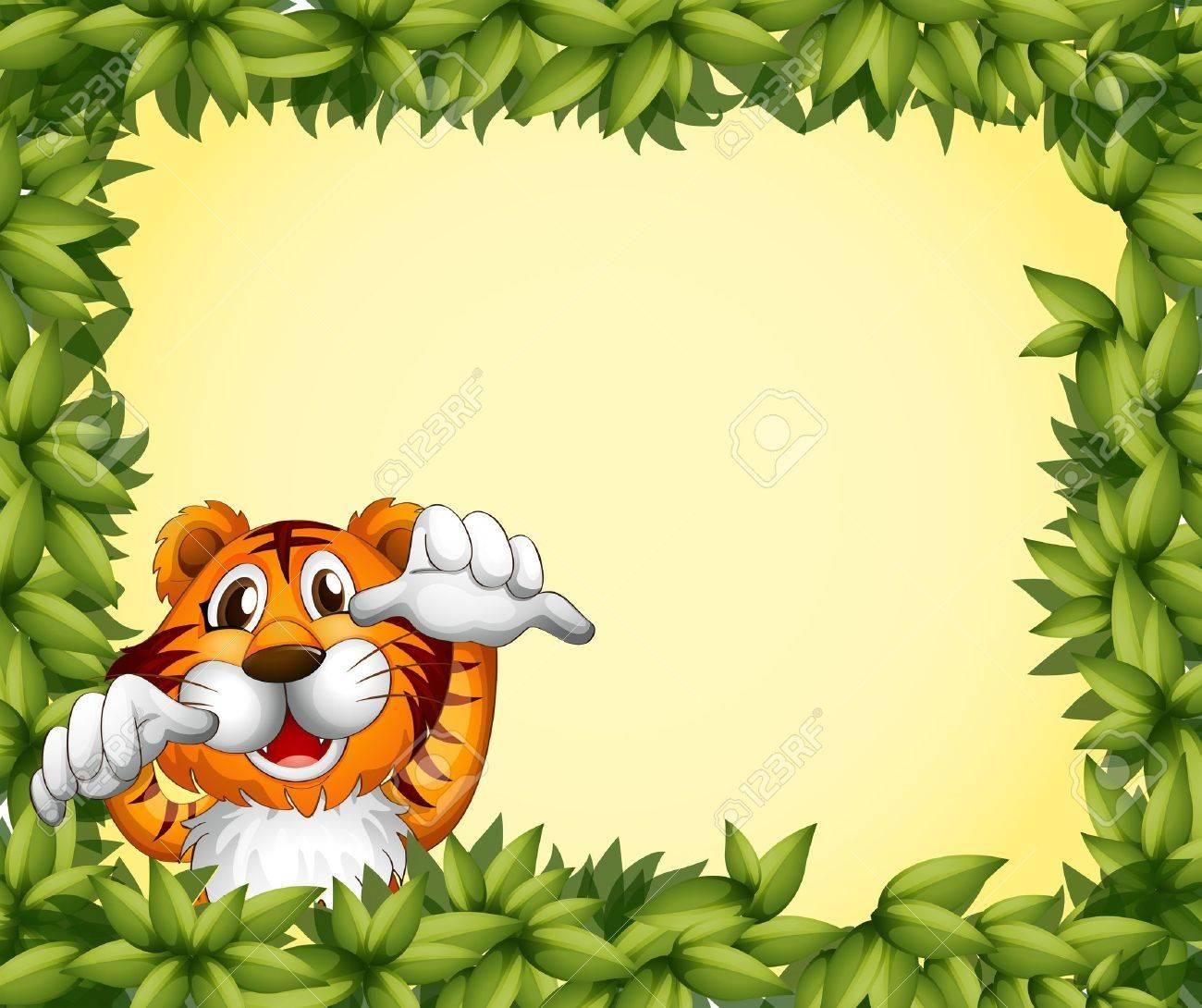 Ilustración De Un Marco Verde Con Un Tigre En El Interior ...