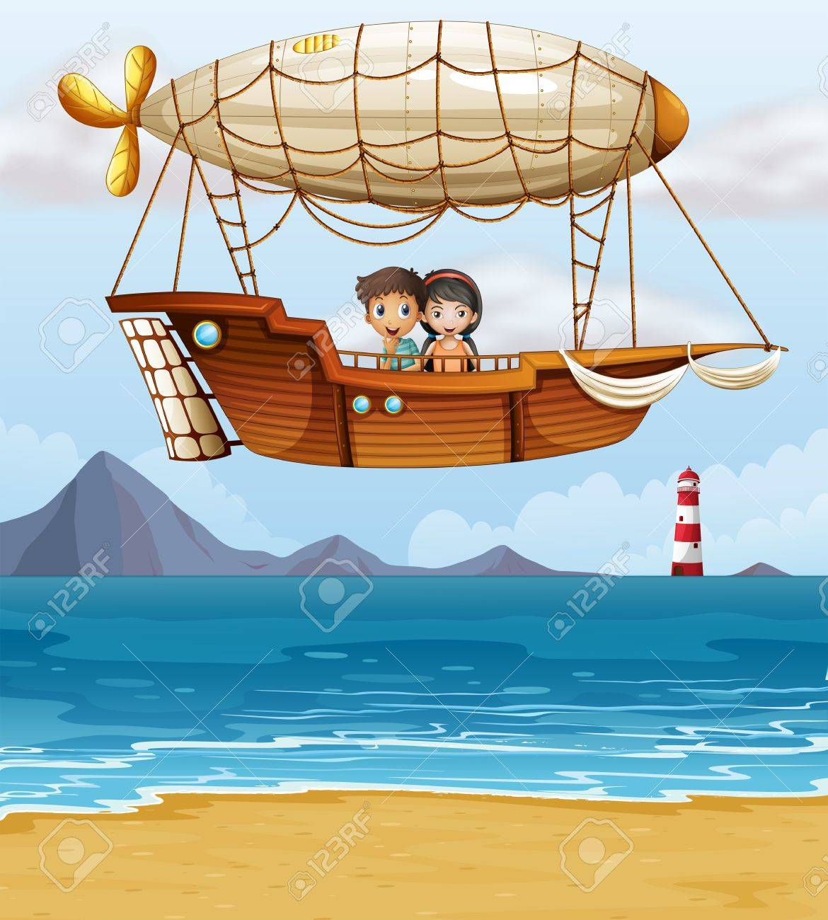 Illustration of a boy and a girl riding an airship Stock Vector - 18012964