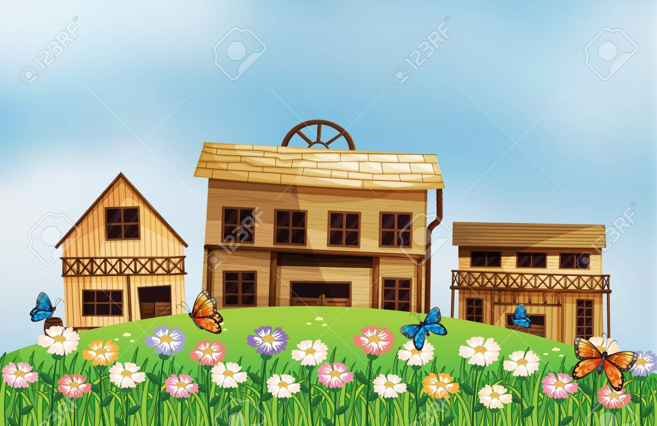 Illustration of the three different wooden houses at the hill Stock Vector - 18012926