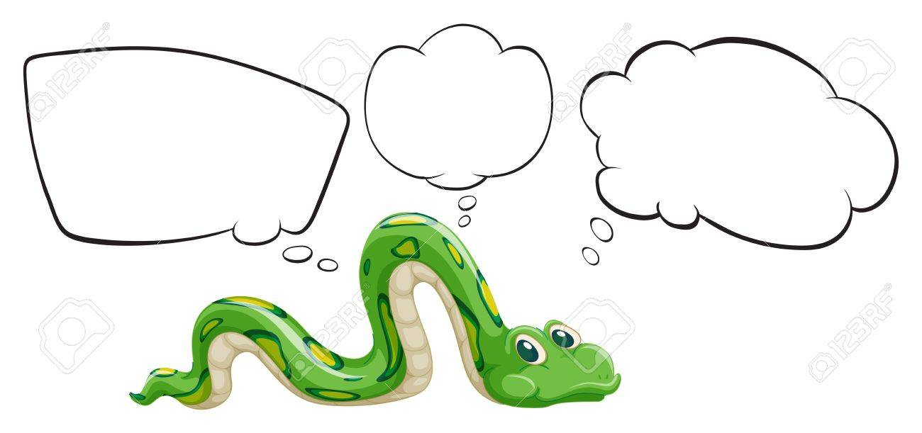 Illustration of a green snake with the empty bubble notes on a white background Stock Vector - 18012356