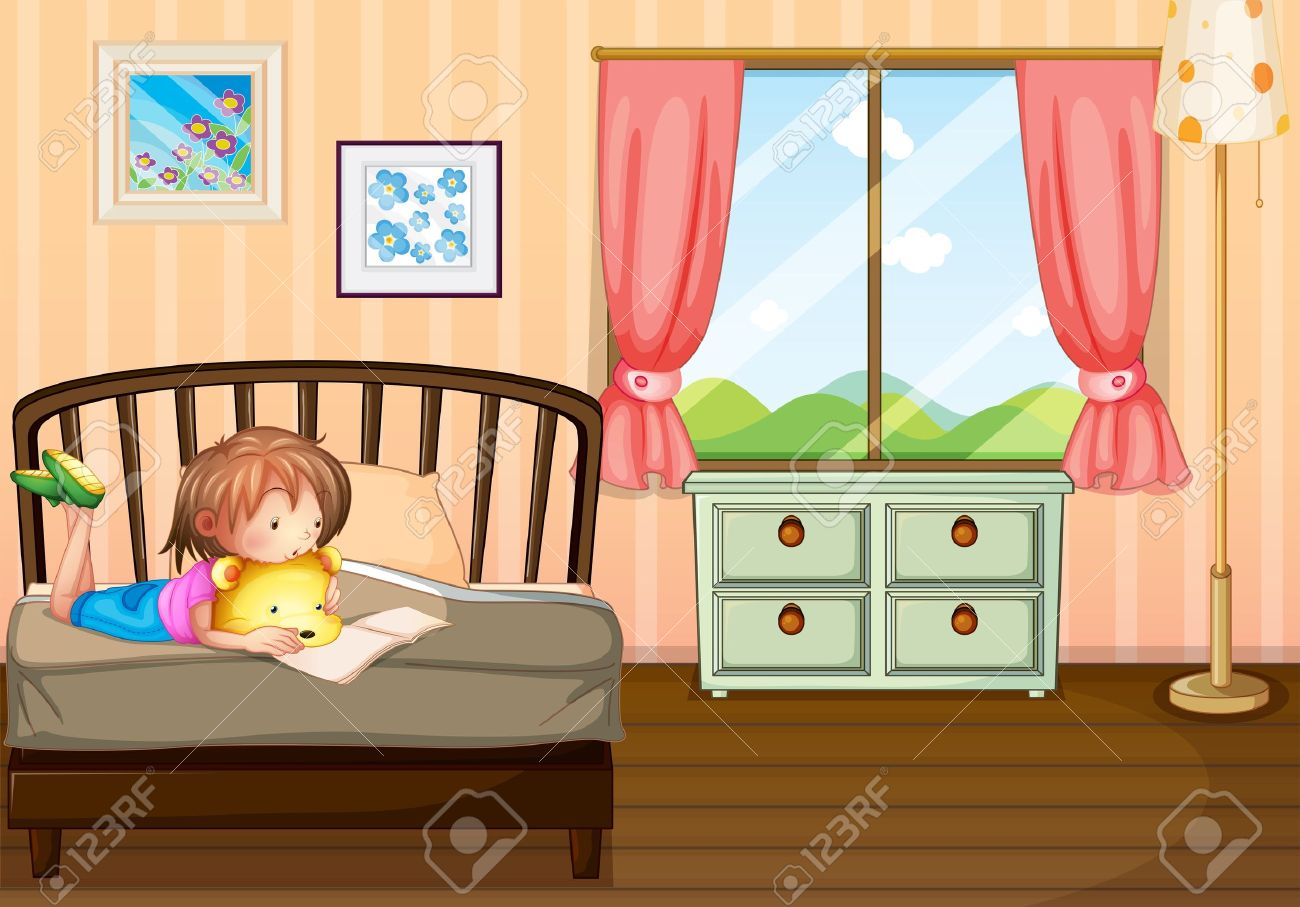 Bedroom drawing for kids - Illustration Of A Child Studying Inside Her Room Stock Vector 18012692
