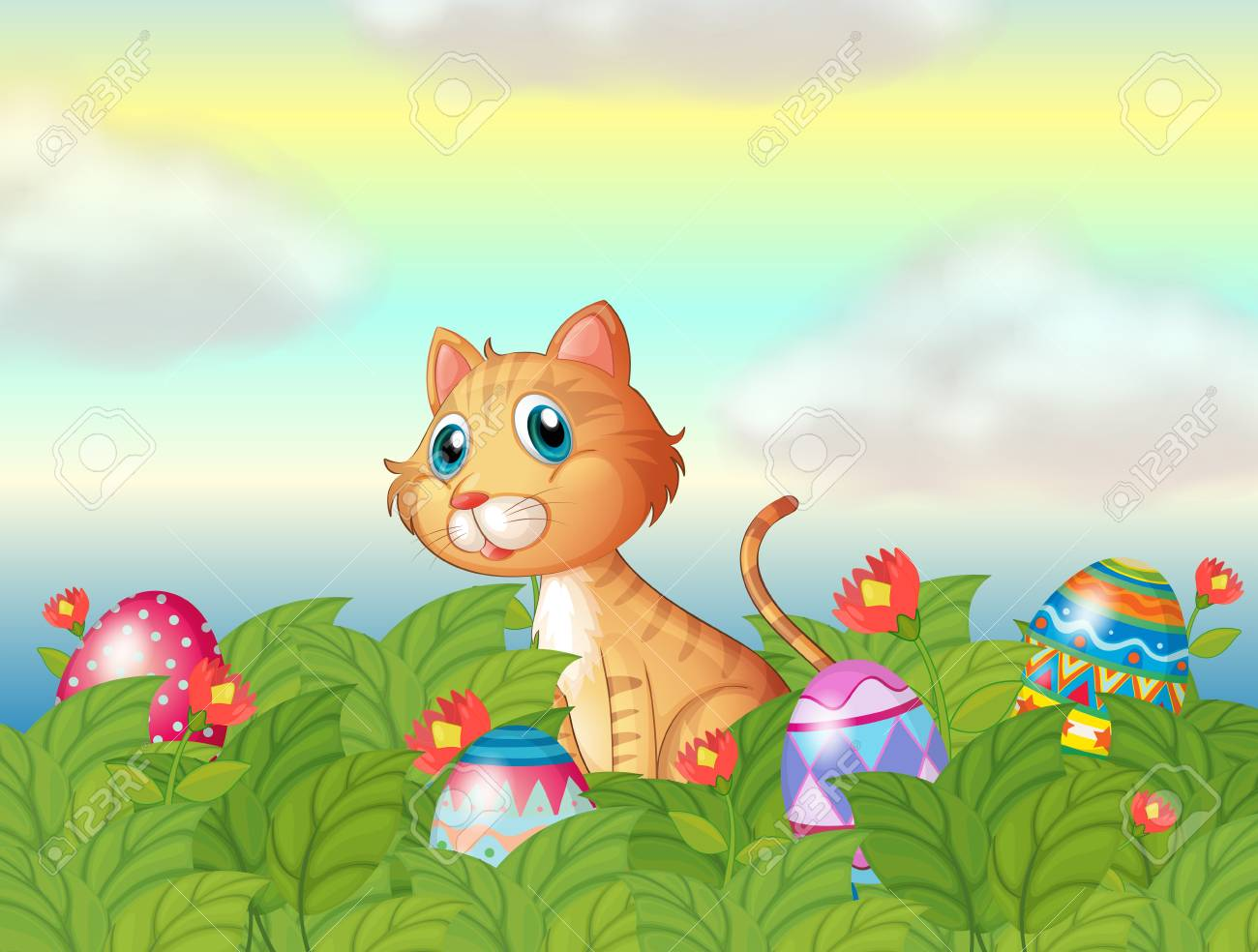Illustration of a wild cat and the easter eggs Stock Vector - 18012700