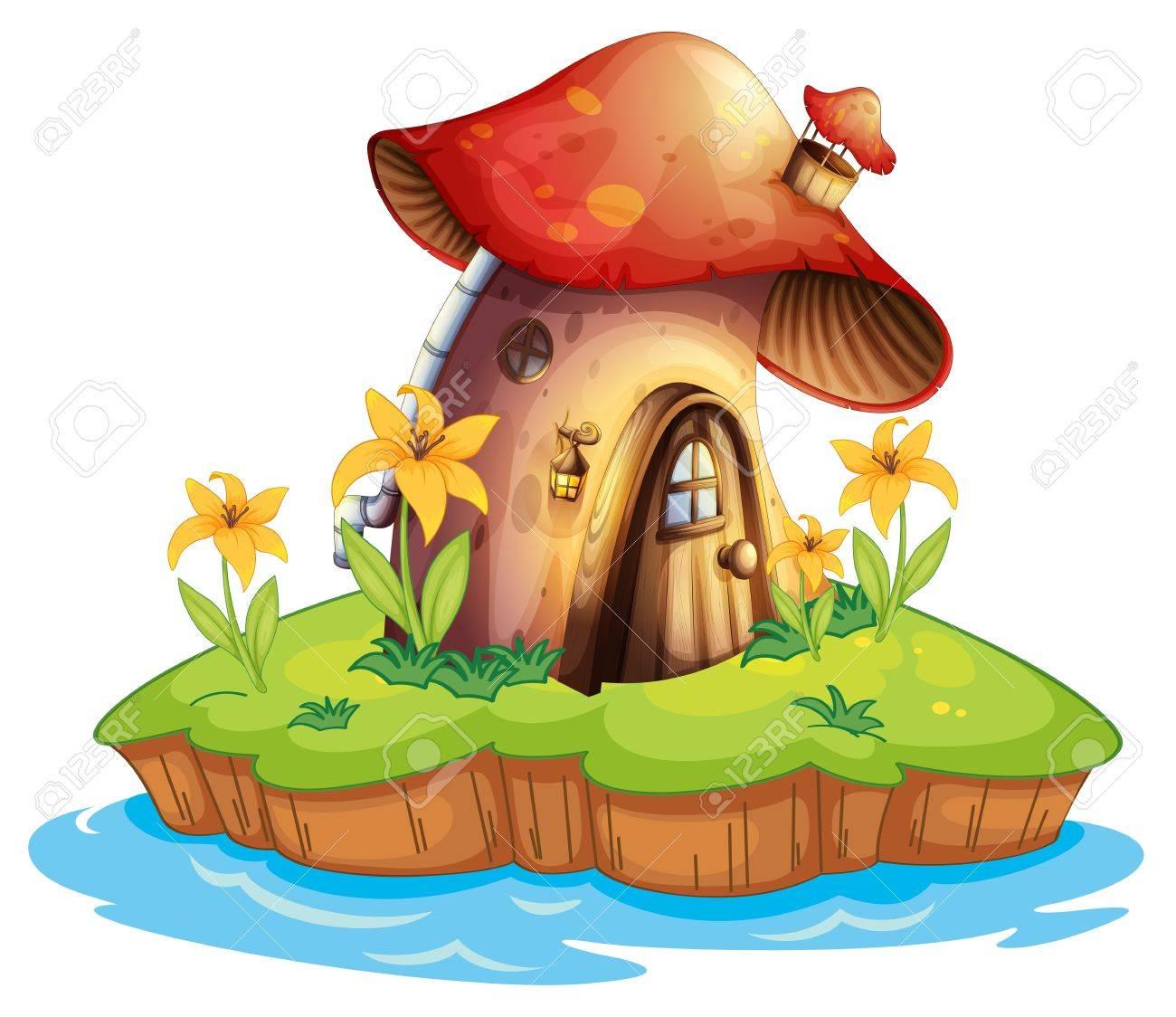 Illustration Of A Mushroom House On White Background
