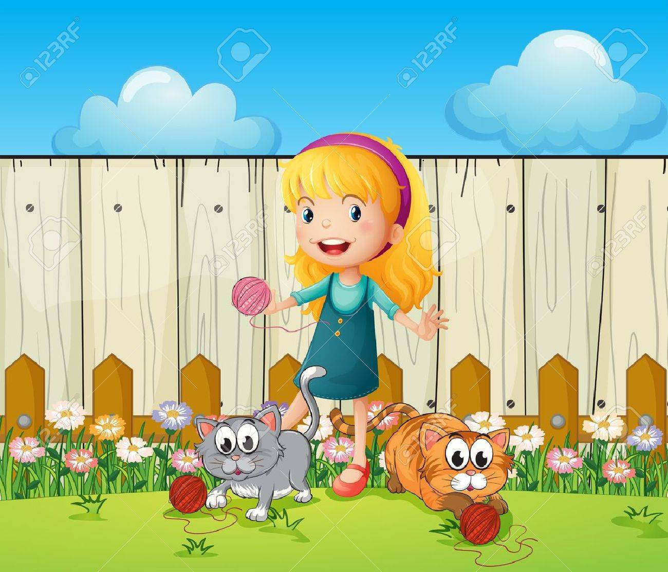 Illustration of a girl playing with her cats inside the fence Stock Vector - 18052954