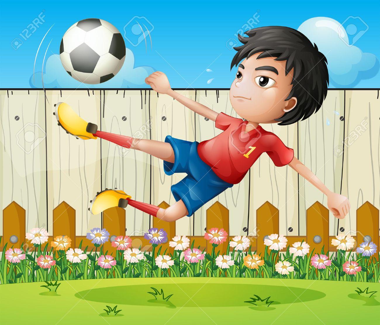 Ilustracion De Un Nino Jugando Futbol Dentro De La Cerca