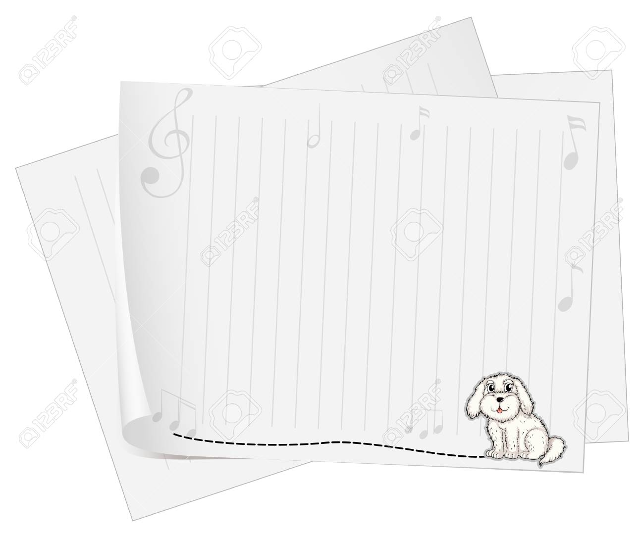 Illustration of an empty piece of paper with an animal design on a white background Stock Vector - 18052857