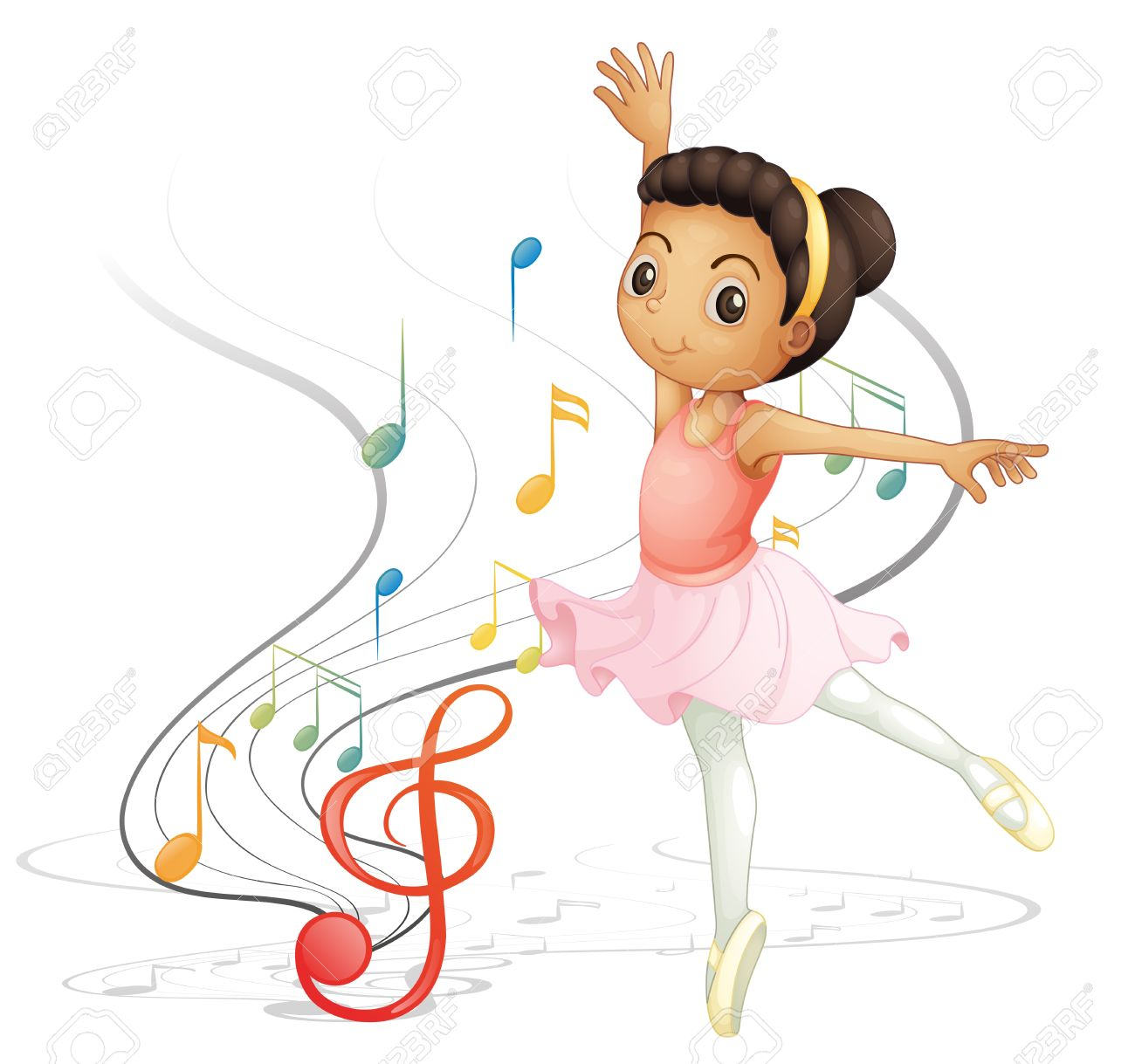 illustration of a girl dancing with musical notes on a white rh 123rf com