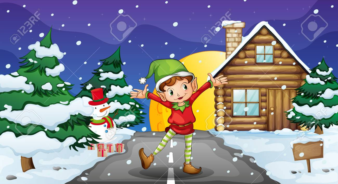 Illustration of an elf enjoying the snow Stock Vector - 18053039