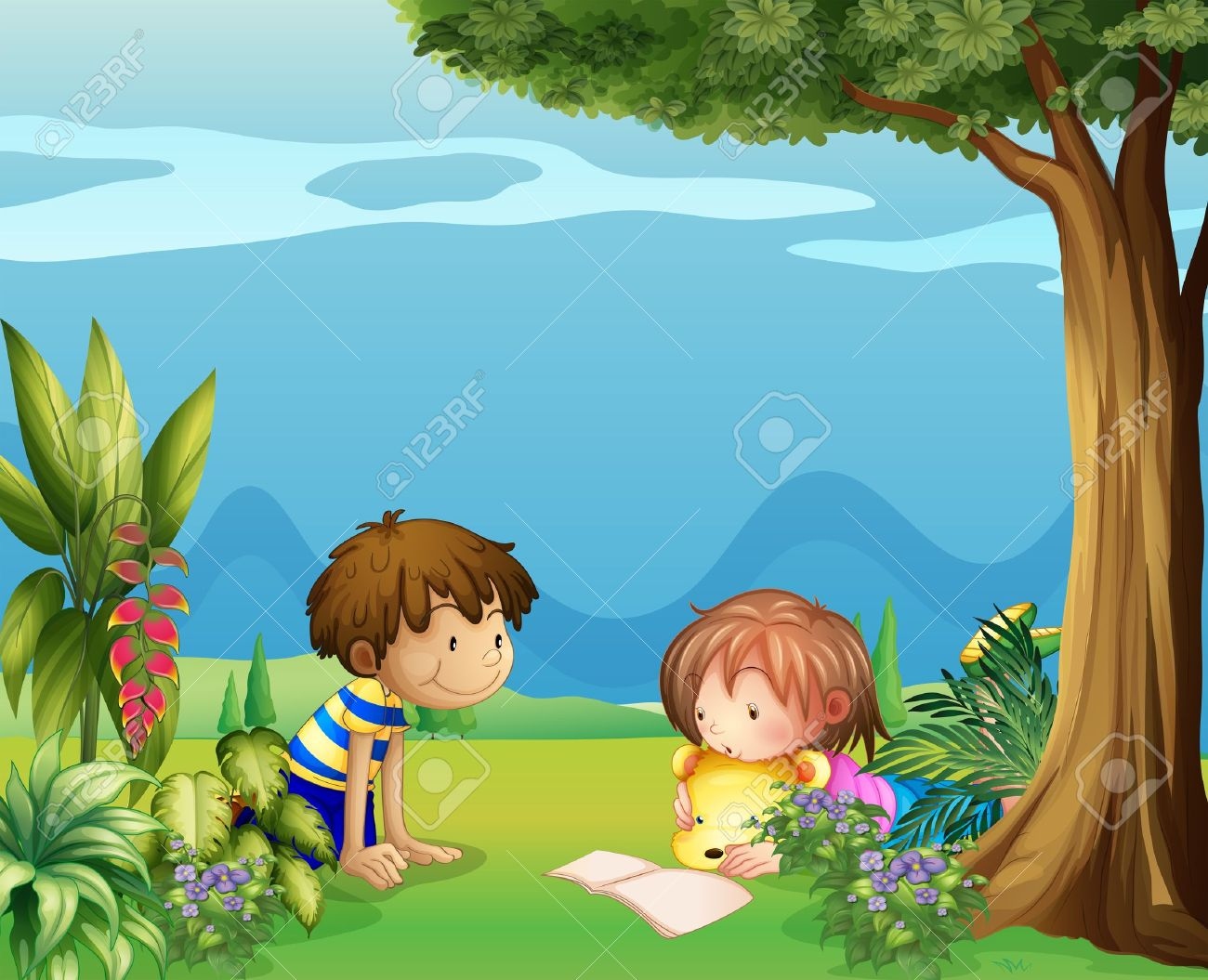 Illustration of a boy with a girl reading in the garden Stock Vector - 18053048