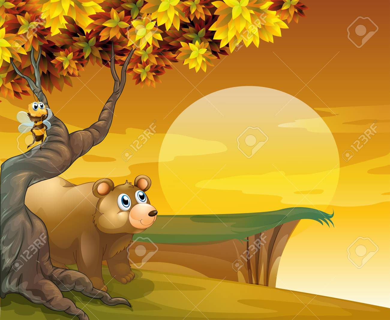 Illustration of a bear and a bee looking at the sunset Stock Vector - 18053035