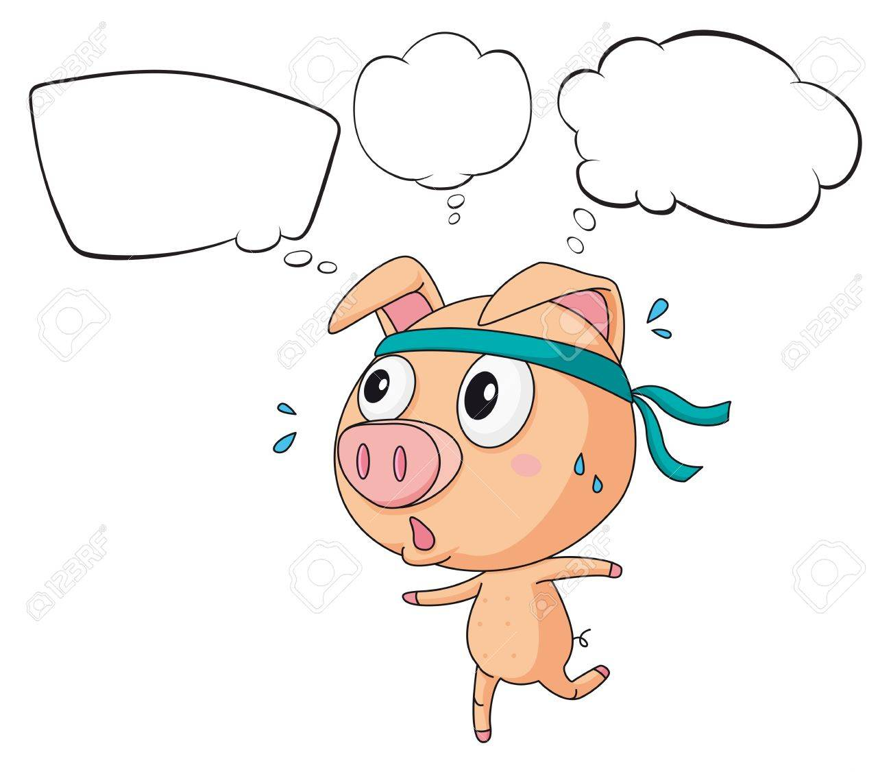 Illustration of a pig exercising with empty callouts on a white background Stock Vector - 18052816