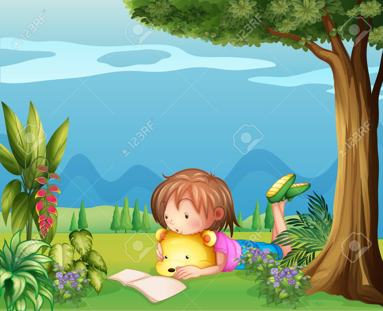 Illustration of a girl with a bear reading a book Stock Vector - 18053158
