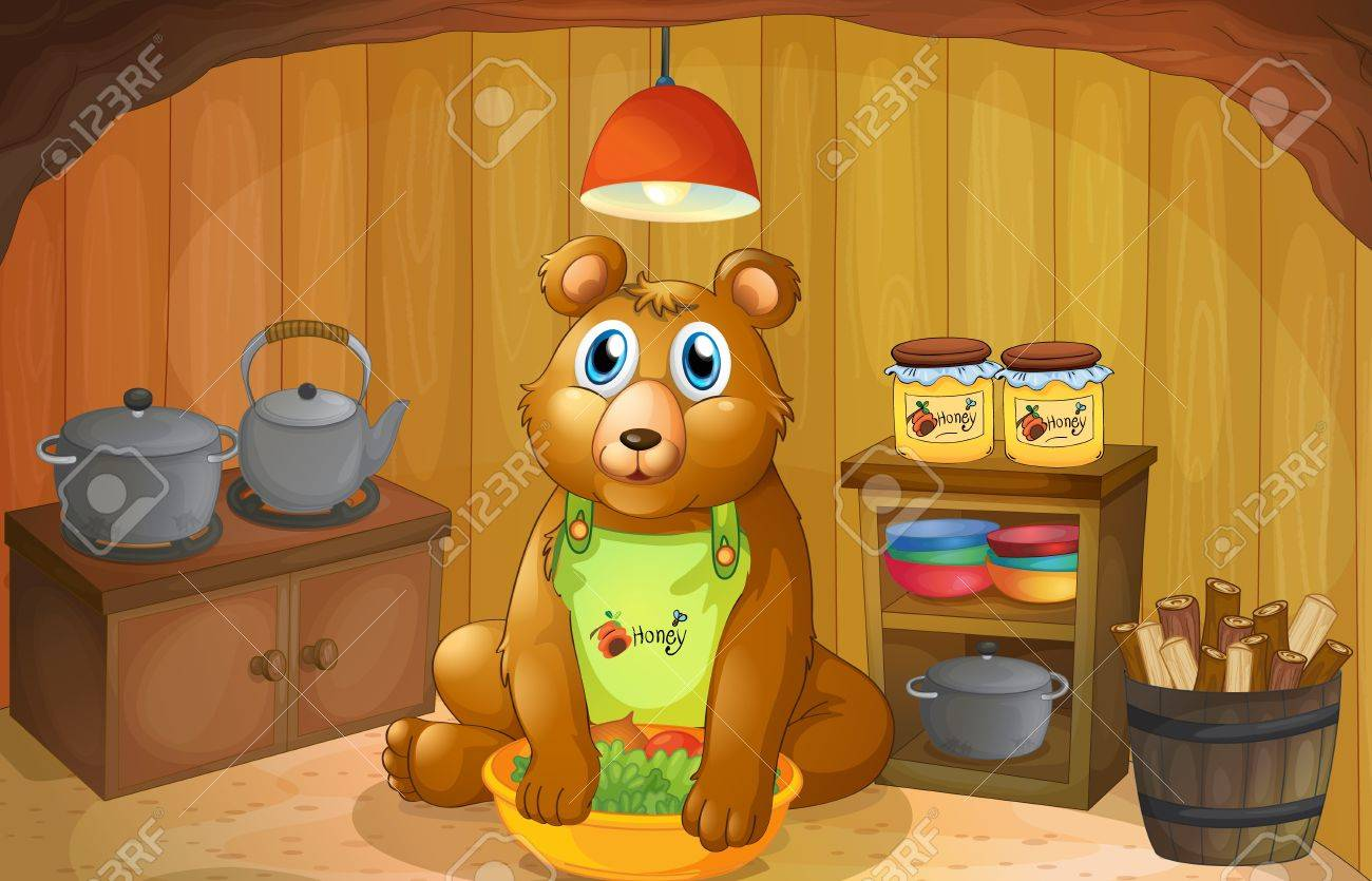 Illustration of a bear inside the kitchen Stock Vector - 18053078
