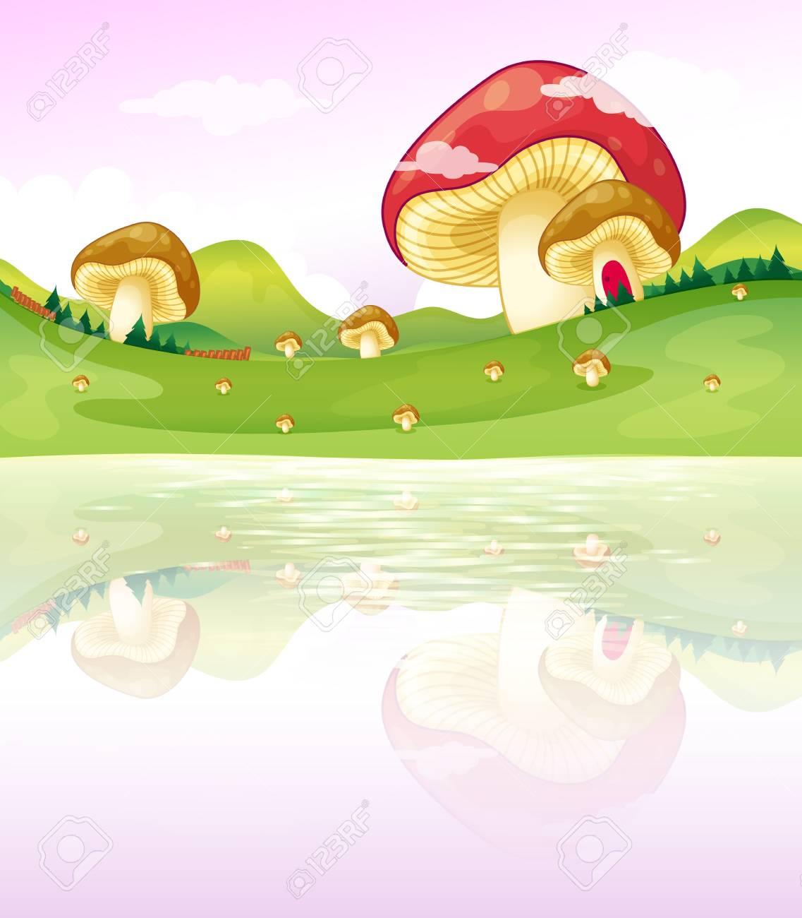 Illustration of the thmushrooms near the lake Stock Vector - 18053273