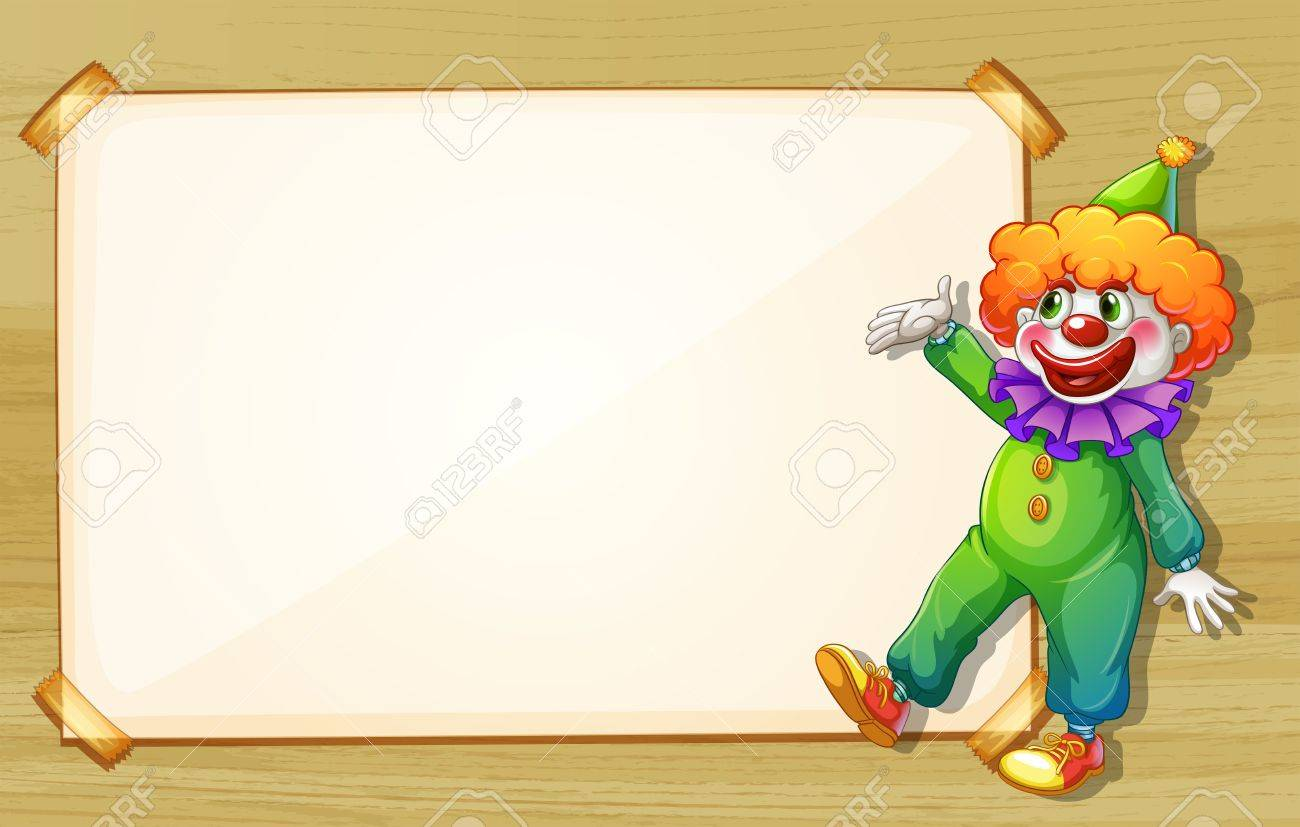 Illustration of a clown showing the empty board Stock Vector - 18053303