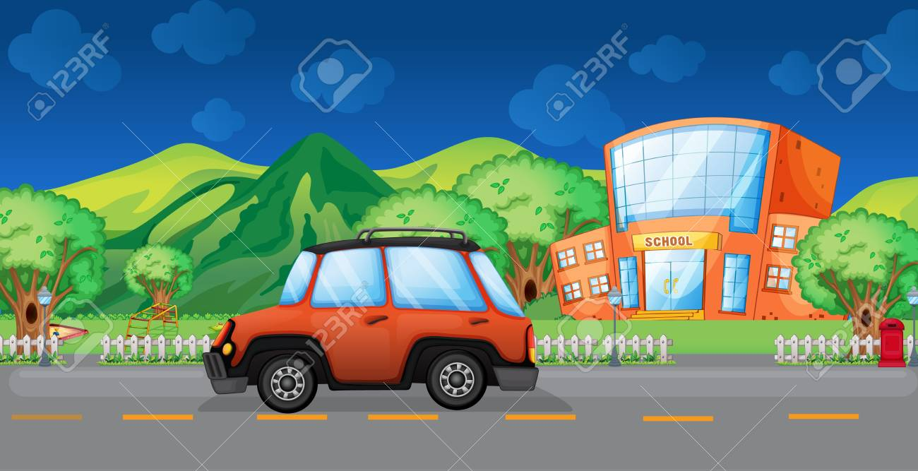Illustration of a car passing at the school Stock Vector - 18053310