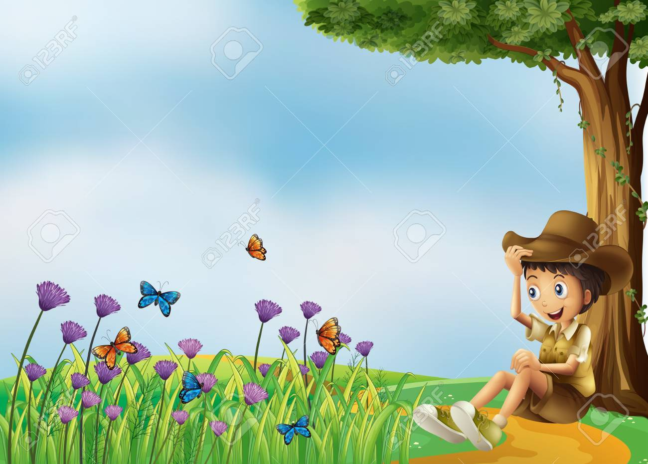 Illustration of a young man resting in front of the butterflies Stock Vector - 18158557