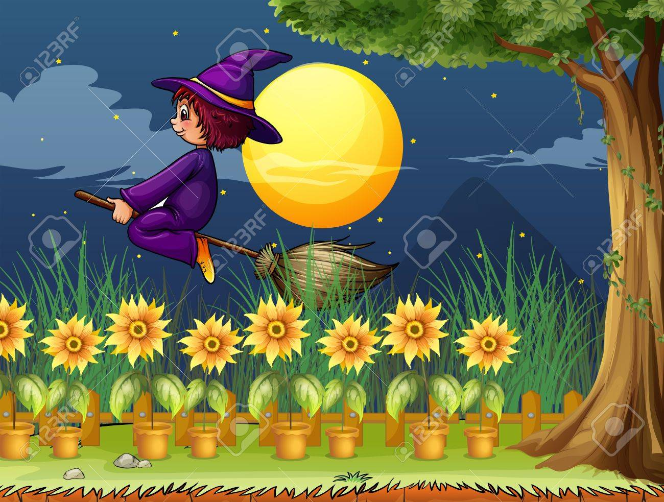 Illustration of a witch in the garden Stock Vector - 18158515