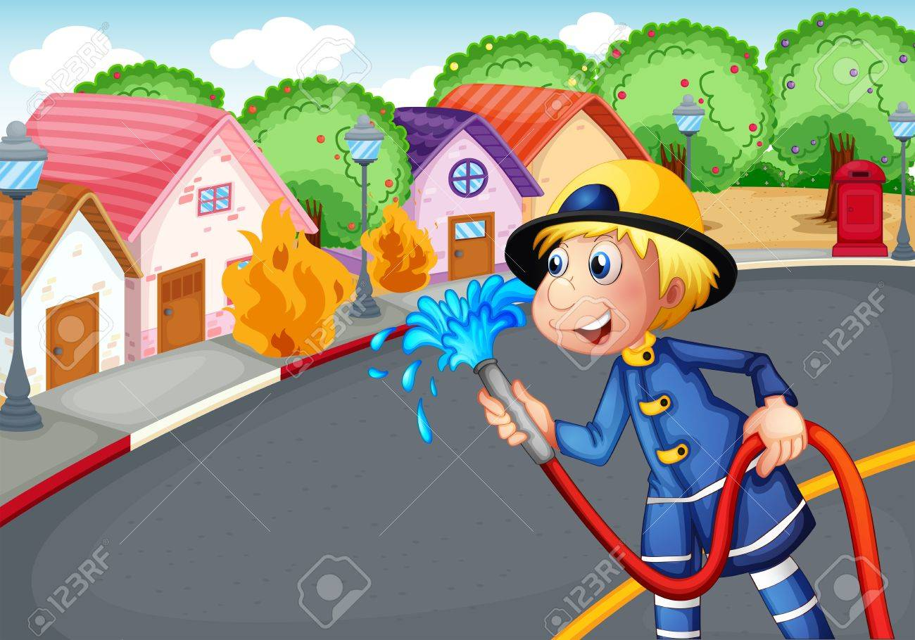 Illustration of the fireman holding a hose rescuing a village on fire Stock Vector - 18158366