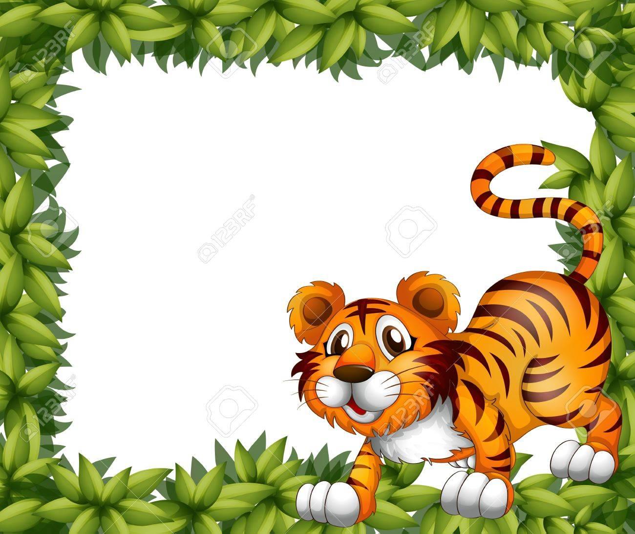 Ilustración De Un Marco Con Un Tigre Ilustraciones Vectoriales, Clip ...