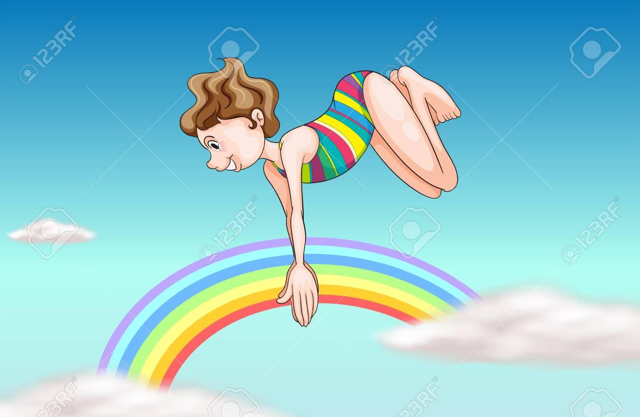 空を見上げてダイビング女の子のイラストのイラスト素材ベクタ Image