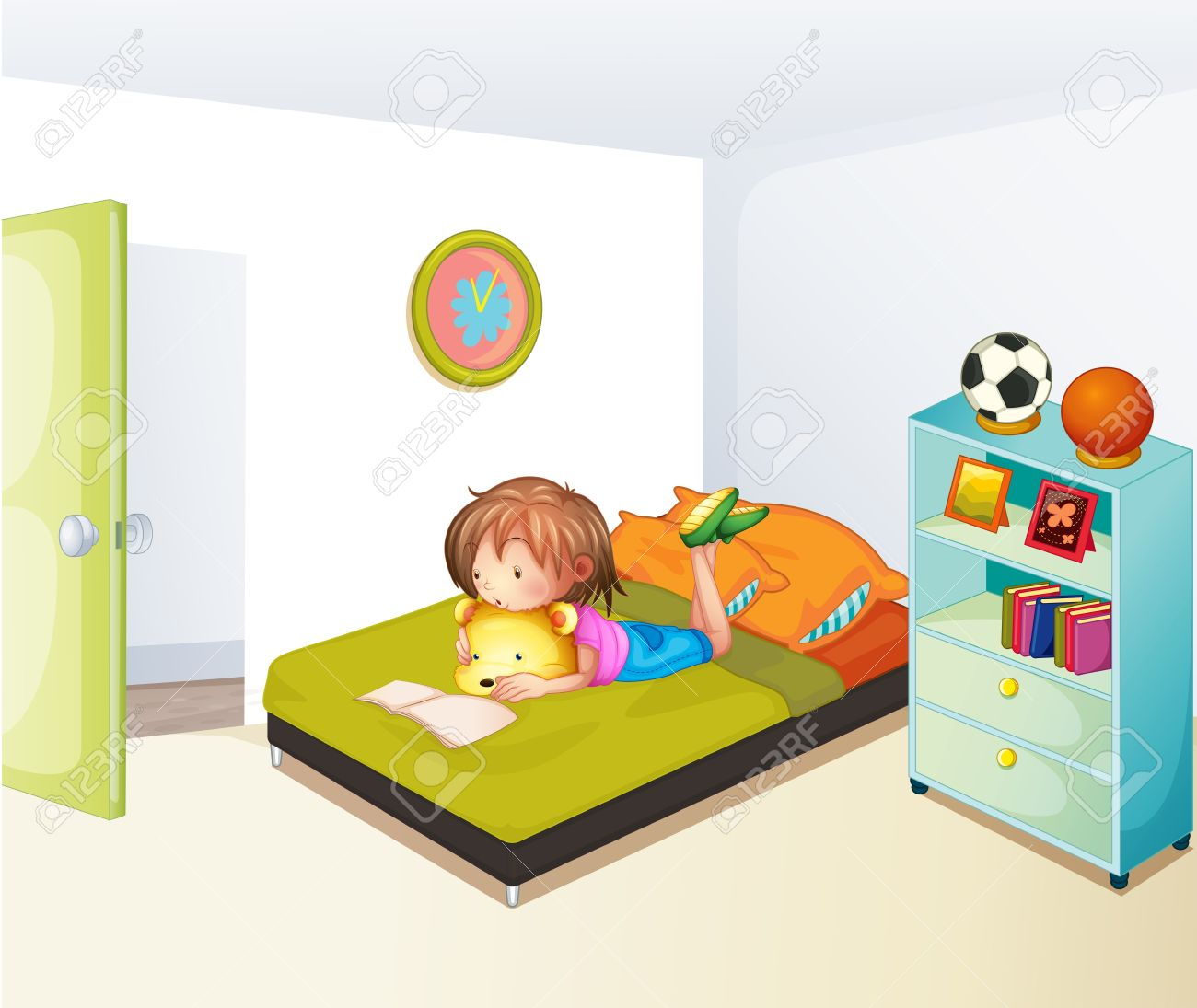 Illustration of a girl studying in her clean bedroom Stock Vector - 18133945