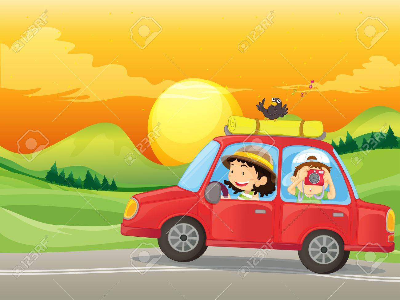Illustration of a girl and a boy riding in a red car Stock Vector - 18210169