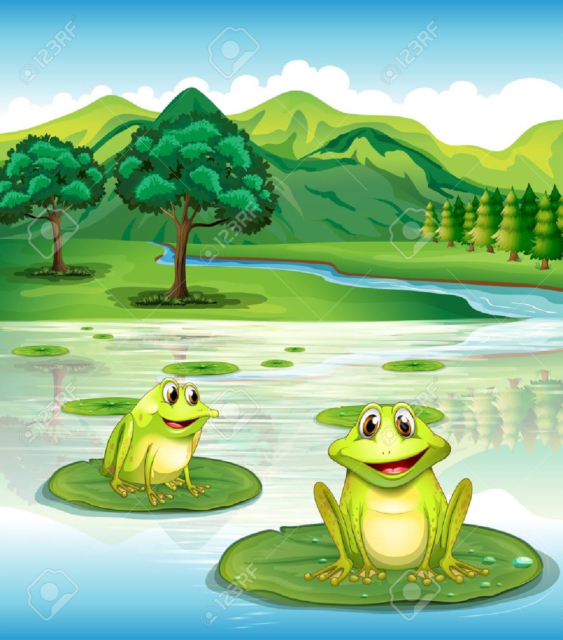 illustration of two frogs above the waterlilies royalty free