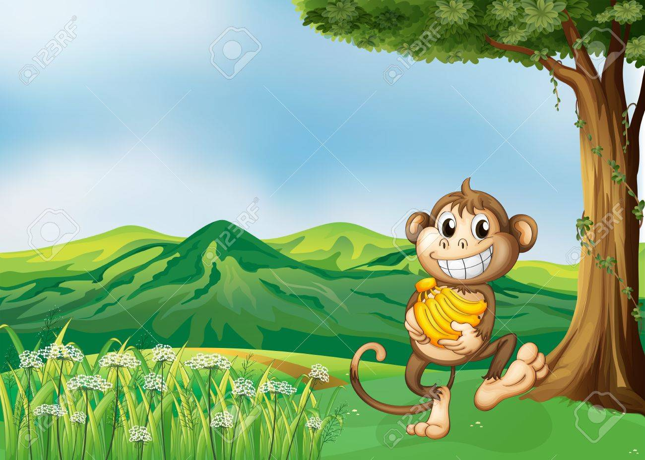 illustration of a monkey holding a banana royalty free cliparts