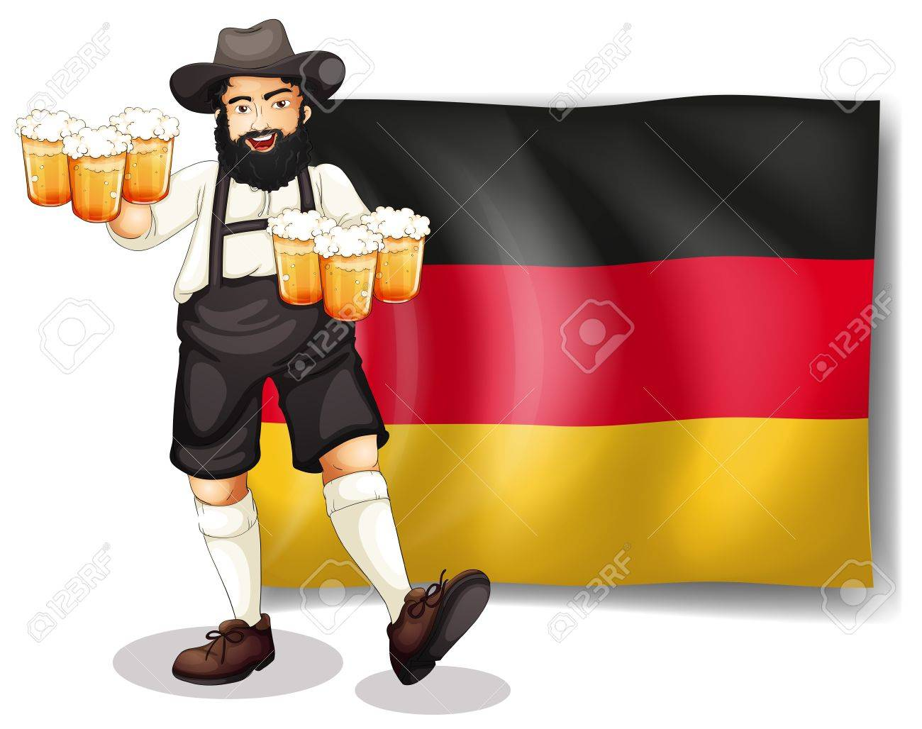 Illustration of a man holding a beer in front of a flag on a white background Stock Vector - 18210319