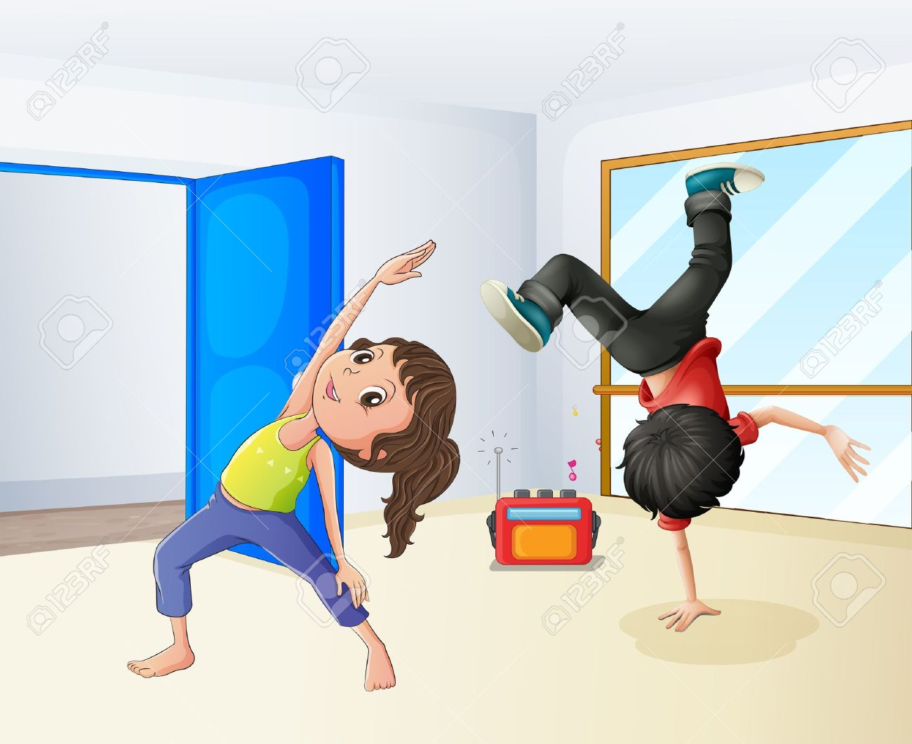 Illustration of a girl and a boy dancing - 18210229