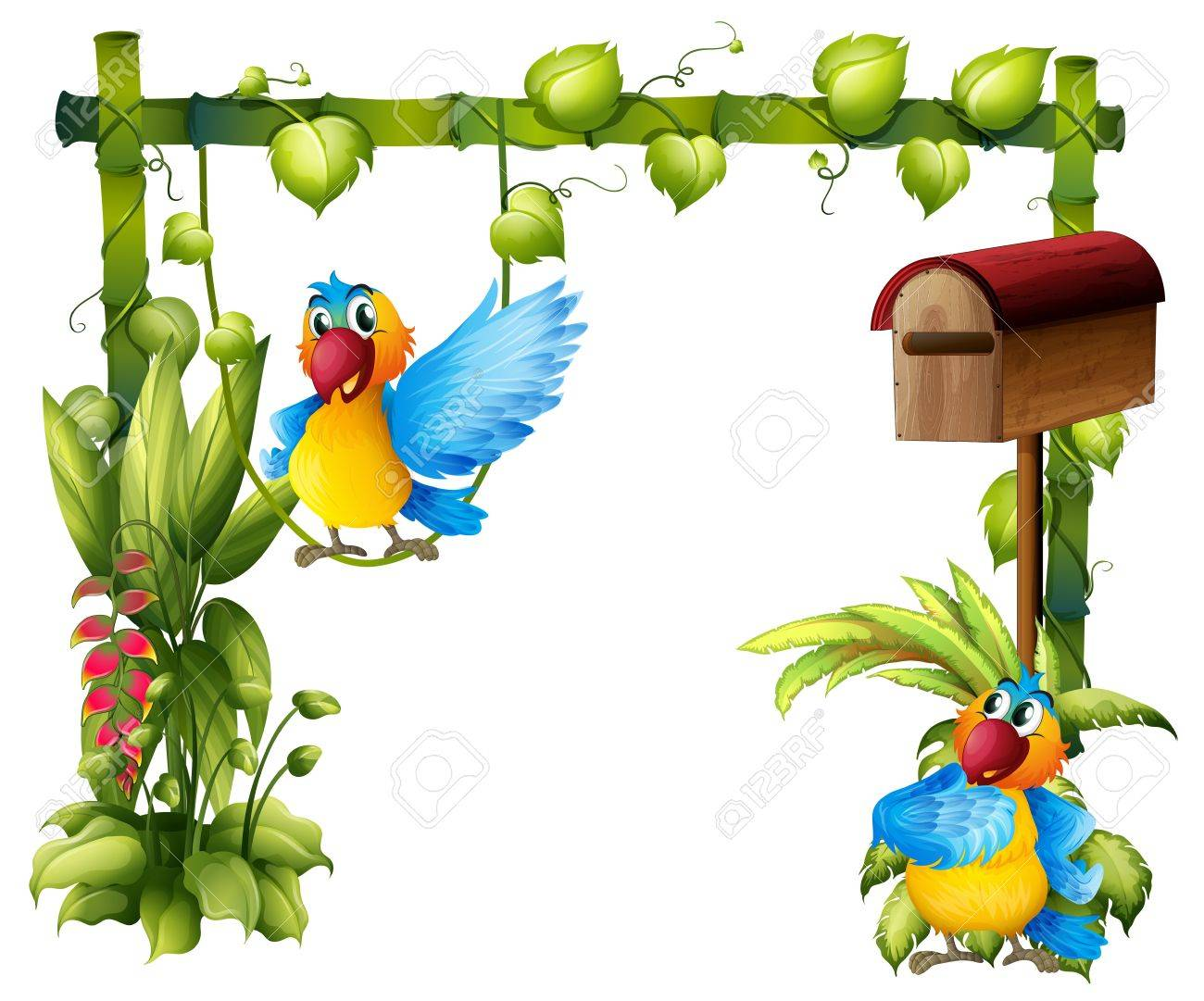 Illustration of two parrots with a wooden mailbox on a white background Stock Vector - 18210415